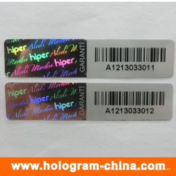 Autocollant holographique noir inviolable de numéro de série noir