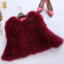 Manteau en fourrure en plumes de vin rouge