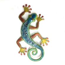 Jardín de color Stone Eye Gecko Metal áspero Decoración de pared de arte