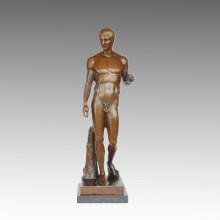Estatua Desnuda Fuerte Escultura De Bronce Masculino TPE-579