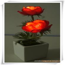 Small Poppy LED Artificial Flowers with Ceramics Pot for Promotion