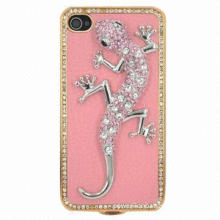 Diamond Lizard-shaped Phone Shell for iPhone 4S Case, Gecko Protective Shell, Faux Leather