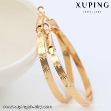 91905- Xuping Jewelry Fashion 18K Pendientes de aro redondos grandes chapados en oro