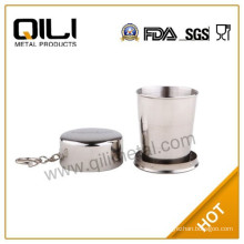 Stainles steel folding cup with leather sheath, disposable cup