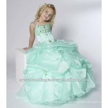 El envío libre rebordeó el desfile por encargo appliqued de las muchachas del vestido de bola acanalado appliqued viste CWFaf4879