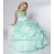 Free shipping beaded appliqued ruched ball gown mint custom-made girls pageant dresses CWFaf4879