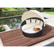 Utomhus Garden Wicker Bed Round Sunbed med Canopy