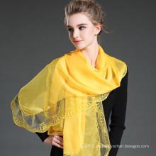 Gelb Polyester Chiffon Schal Spitze Schals für Frauen