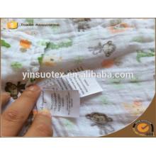 100% manta de bebé de algodón orgánico después de lavado para el nuevo bebé hecho en China continental