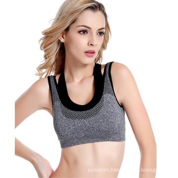 Fashion Fake Two Vest Type Sports Underwear High-Elastic Tight Running Yoga Gym Shake-Proof Seamless Underwired Bras