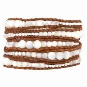 Sand Dollars Shell Jewelry, Large Graduated White Mother of Pearl and Silver Nugget Wrap Bracelet