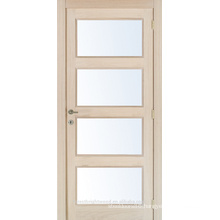 Unfinished interior oak veneered composite wooden glass door