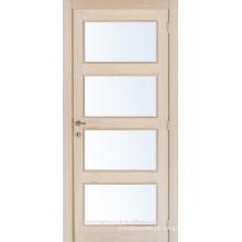 Inacabado Carvalho interior folheado a porta de vidro de madeira composta