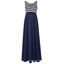 Полосатый лоскутное Катя Касин женщин без рукавов U-образным вырезом для беременных платье Макси бак KK000676-1