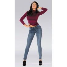 Lady Knit Jeans, Good Stretch Tight Women Jeans, Оптовые Женские Джинсы