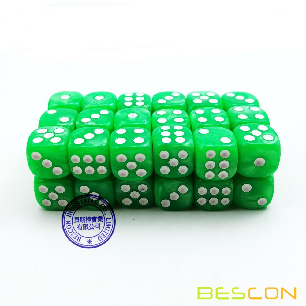 Bescon 12mm 6 Sided Dice 36 in Brick Box, 12mm Six Sided Die (36) Block of Dice, Marble Grass