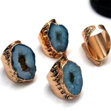 Adjustable Agates Druzy Rings Freeform Beauty Patterns Boho Gold Bezel Rings