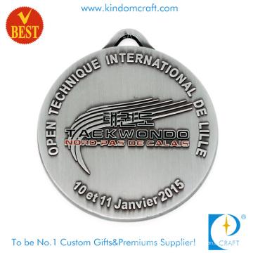 Neue Stil benutzerdefinierte Emaille Metall Antik Silber Taekwondo Medaille für Club Souvenir Geschenk
