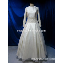 Real picture long sleeve muslim bridal wedding dress