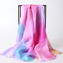 Echarpe en mousseline imprimé à la main et en érable à fleurs, achetez la Chine directe