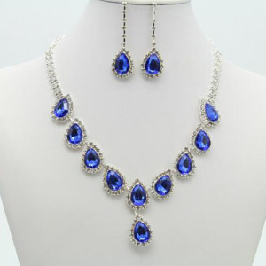 Venta al por mayor Crystal Rhinestone Necklace Set