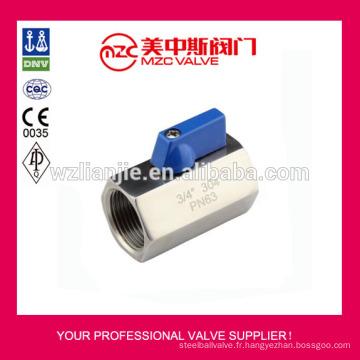 Mini robinet à tournant sphérique 304 F/F fileté extrémités PN63 Mini robinet à tournant sphérique