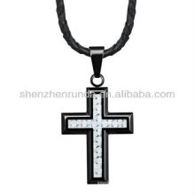 Alto polonês aço inoxidável cruz pingente com fibra de carbono branco em couro genuíno colar Vners fabricante