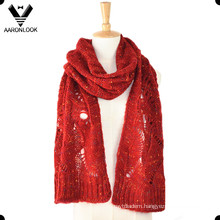Acrylic Mohair Mixed with Nep Yarn Jacquard Women Knitting Scarf