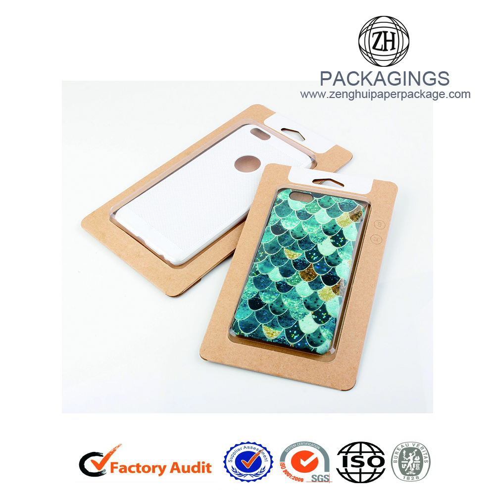 Recycled brown cell phone case box packaging retail