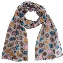 Écharpe de voile de mode de polyester avec des points colorés imprimés (YKY4224)