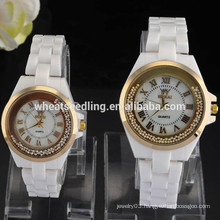 2015 Latest design white ceramic couple lover wrist watch