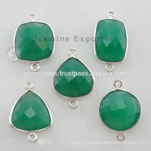 925 plata esterlina verde natural onyx Gemstone bisel ajuste conector