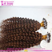 O dobro encaracolado Kinky perla extensões do cabelo do anel do laço do cabelo humano de Remy do brasileiro as micro para pretos