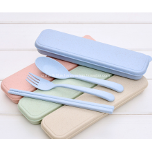 3pcs Portable Wheat Straw Plastic Cutlery