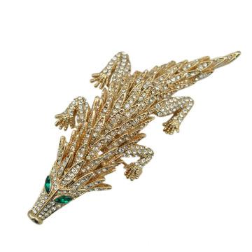 2016 nuevo estilo de oro plateado Rhinestone Pangolin broche