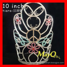 Colored large tall crystal pageant crown for Halloween