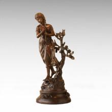 Kids Figure Statue Spring Flower Child Bronze Sculpture TPE-927
