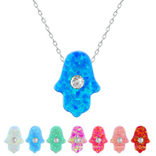 Hot Fashion Crystal Evil Eye Opal Hamsa colgante de mano 925 collar de cadena de plata