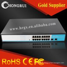 Commutateur Gigabit Ethernet 16 ports professionnel de couche 2 avec 2 emplacements SFP