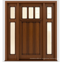 Diseño de puertas de madera de caoba macizo frontal teñido tradicional con vidrio