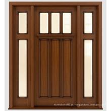 Portas de madeira de mogno maciço dianteiro manchado tradicional projetam com vidro