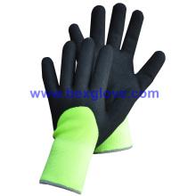 7 Gauge Acrylic Thermal Liner Plus, forro exterior de nylon 13G, recubrimiento de nitrilo, guantes de trabajo de acabado 3 / 4sandy
