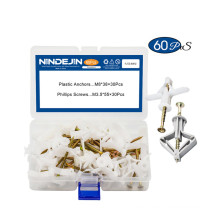 60PCS M8 Butterfly Anchor Wall Plugs Set Plastic Expansion Anchor Drywall Anchor and Stainless Steel Screw Kit