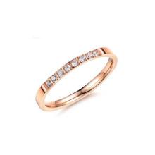 Anillo de oro rosa de acero inoxidable, anillo de una hilera, anillo de buena suerte
