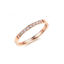 Stainless steel rose gold ring,single row ring,good luck ring