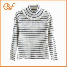 High Neck Stripe Knitwear Kids Girl Sweater