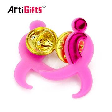 Design your own plastic pvc classy wedding pink ribbon lapel pin wholesale