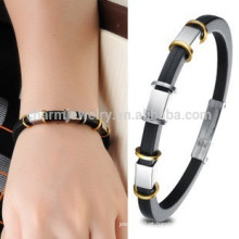 2015 novo silicone de alta qualidade + fios de aço inoxidável Charm bracelete dos homens Pulseira pulseira PH840 cadeia