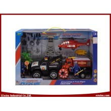 Juguetes de equipo de rescate de la policía de playa juguetes de bricolaje con remolque de placa, Juguetes de avión de línea de tracción y juguetes de fricción Coches