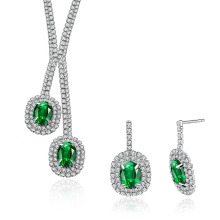 Conjuntos de jóias de casamento Cryatal Platinum Plated Necklace and Earring